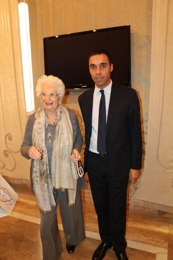 """Luigi Salsini soddisfatto per il premio """"Cedri d'Argento"""" alla senatrice Segre."""